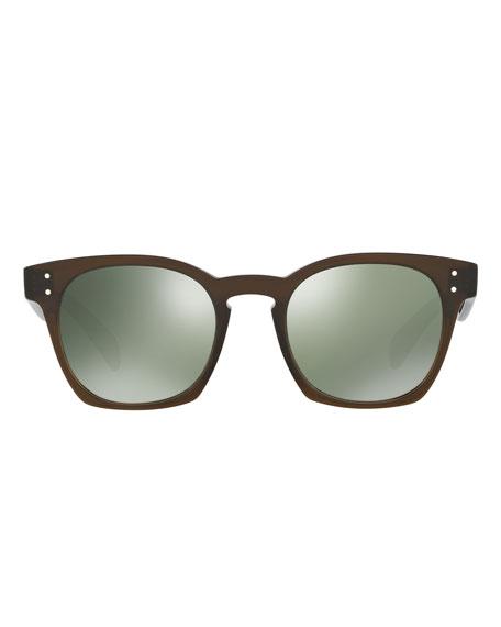 Byredo Square Mirrored Sunglasses, Green