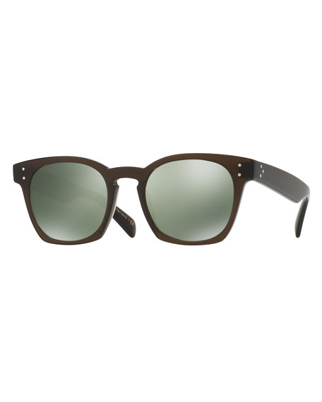Oliver Peoples Byredo Square Mirrored Sunglasses, Green