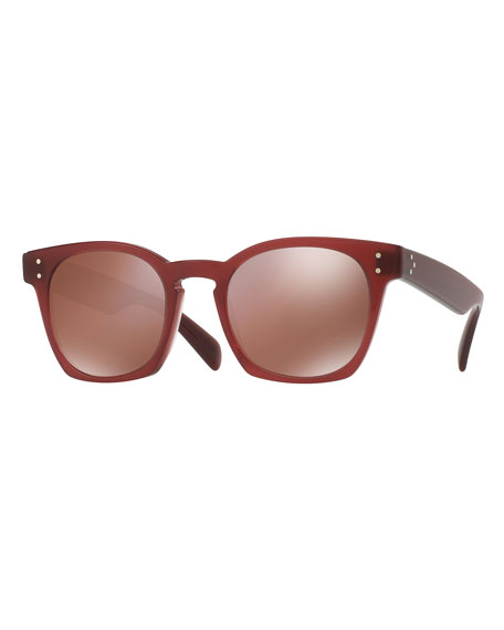 Oliver Peoples Byredo Square Mirrored Sunglasses, Red