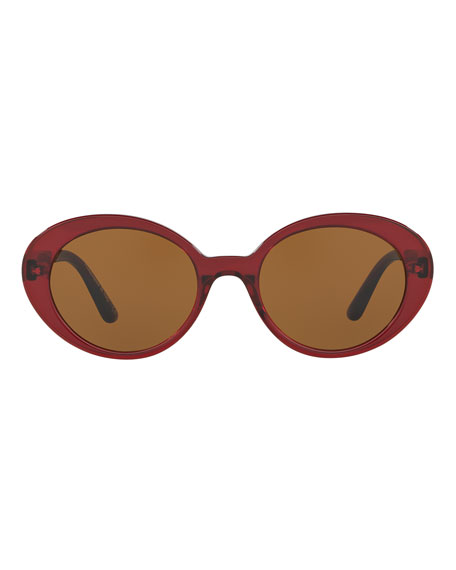 Parquet Monochromatic Oval Sunglasses, Burgundy/Black