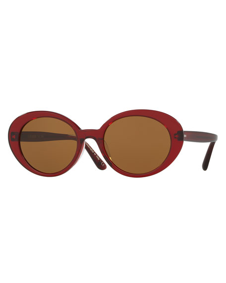 Oliver Peoples Parquet Monochromatic Oval Sunglasses, Burgundy/Black