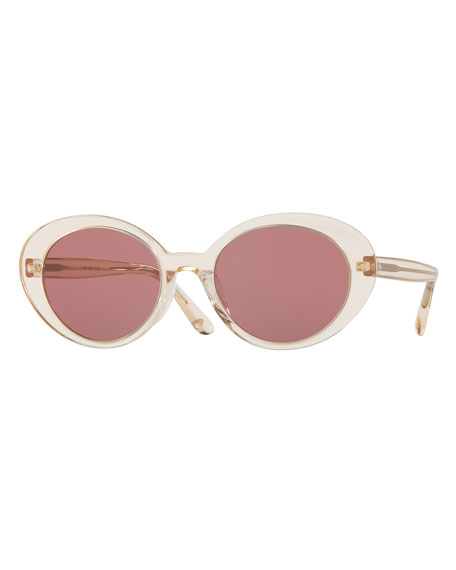 Parquet Monochromatic Oval Sunglasses, Yellow/Pink