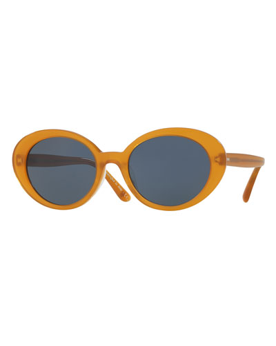 Parquet Monochromatic Oval Sunglasses, Yellow/Blue
