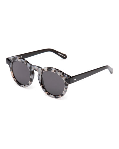 Toulouse Flat-Lens Sunglasses, Black/Gray