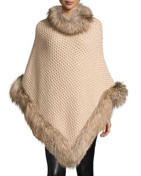 Il Borgo Seed-Stitched Cashmere Fox-Trim Poncho, Oatmeal