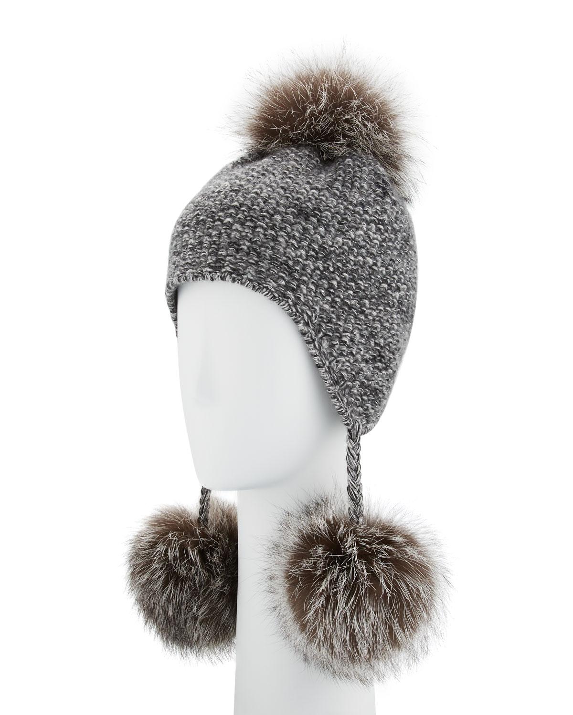 bbbbb4487 Cashmere Pompom Tassel Beanie Hat, Gray
