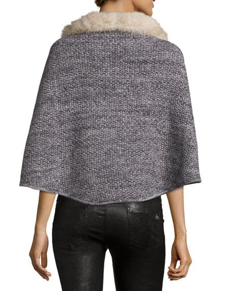 Cashmere Seed-Stitched Mini Poncho, Gray