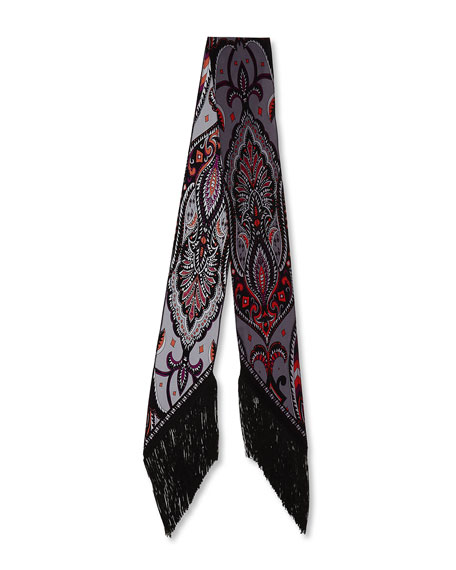 Prickley Paisley Classic Skinny Fringe Silk Scarf, Gray