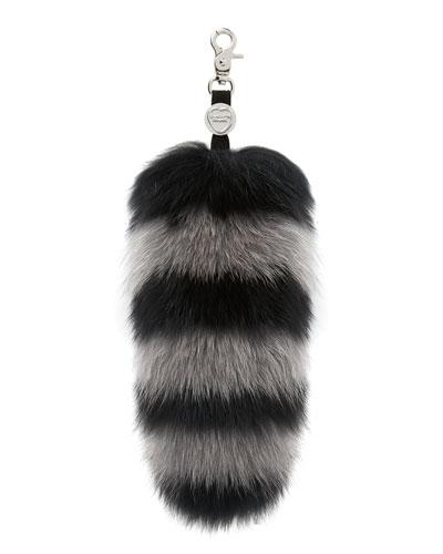 Goody Gumdrops Striped Fox Fur Handbag Charm, Black/Gray