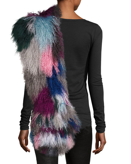 Kaleidoscope Fur Cuff Scarf, Multicolor
