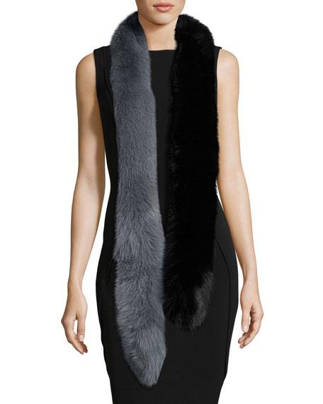 Two-Tone Fox Fur Candy Cane Scarf, Black/Gray