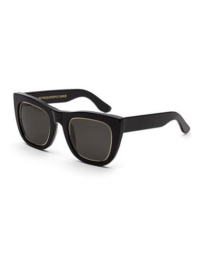 Gals Impero Peaked Square Sunglasses, Black