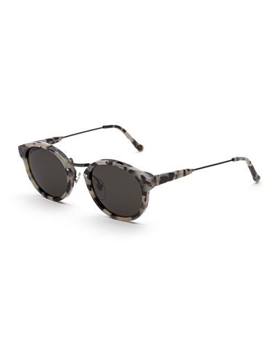 Panama Puma Round Sunglasses, White/Brown Tortoise
