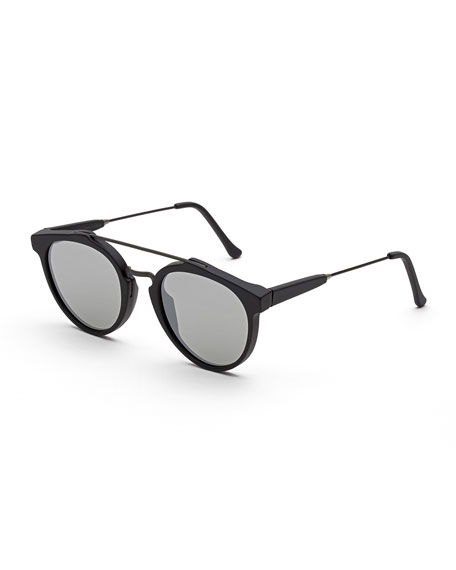 Giaguaro Mirrored Double-Bridge Sunglasses, Black Matte