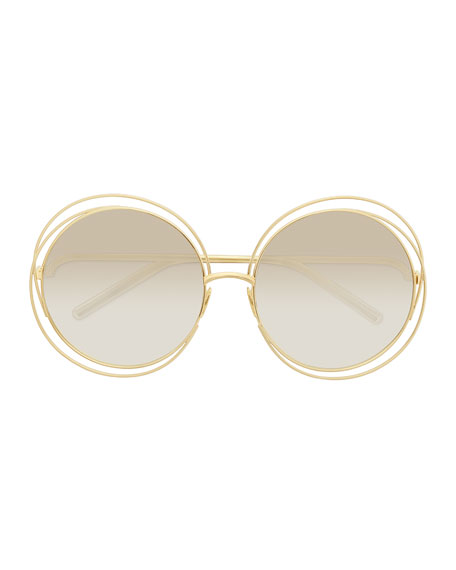 Carlina Round Mirrored Sunglasses, Golden/Beige