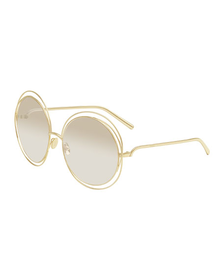 Chloe Carlina Round Mirrored Sunglasses, Golden/Beige