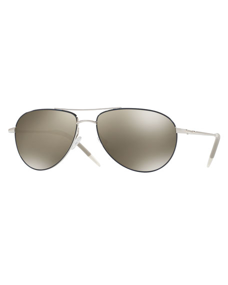 Oliver Peoples Benedict Mirrored Aviator Sunglasses, Silver/Navy
