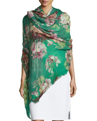 Cashmere-Blend Floral Geranium Stole, Green/Pink