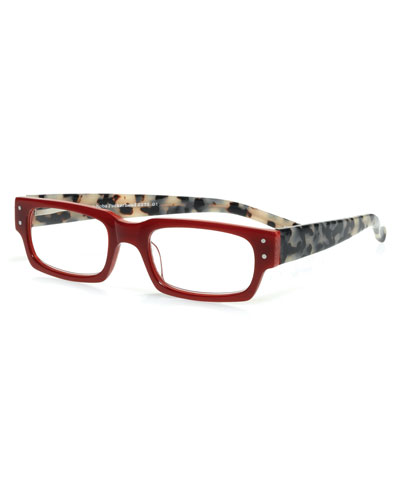 Peckerhead Rectangular Two-Tone Readers, Red/Tortoise