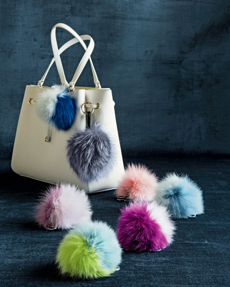 Fox Fur Pompom Charm, Gray/Blue Frost