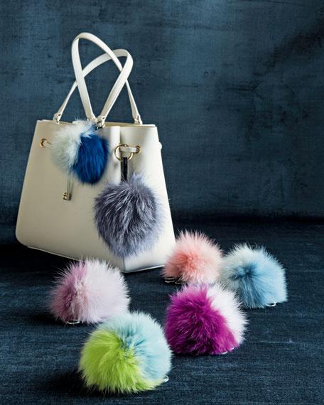 Fox Fur Pompom Charm, Gray/Blue Frost