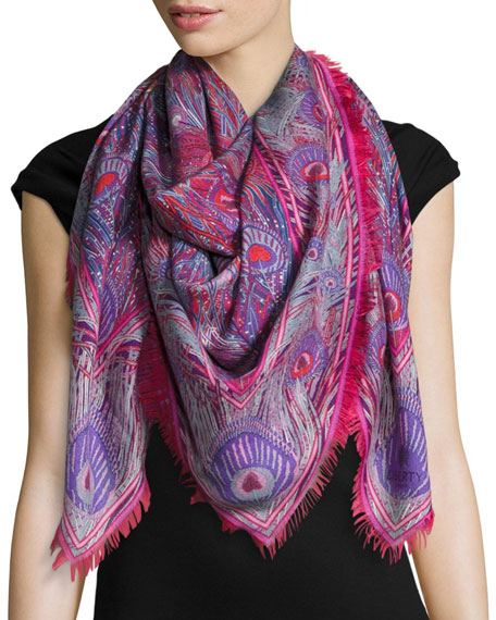 Liberty London Hera Feather-Print Cashmere & Silk Square
