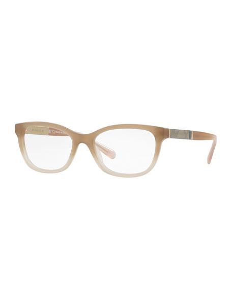 Cat-Eye Check-Temple Optical Frames, Matte Beige