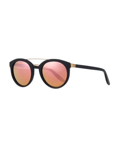 Dalziel Round Iridescent Sunglasses, Black/Lilac