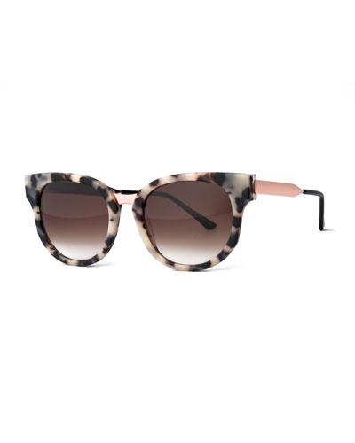 Affinity Square Mixed-Media Sunglasses, Black/White