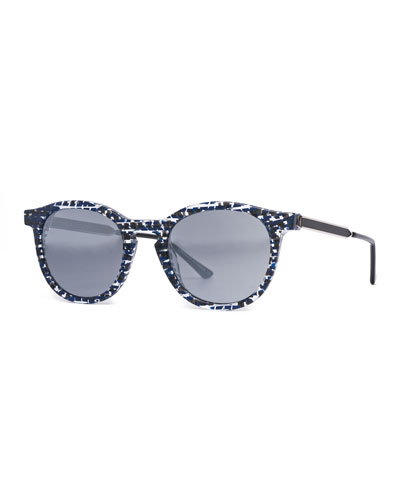 Boundary Abstract Round Sunglasses, Blue