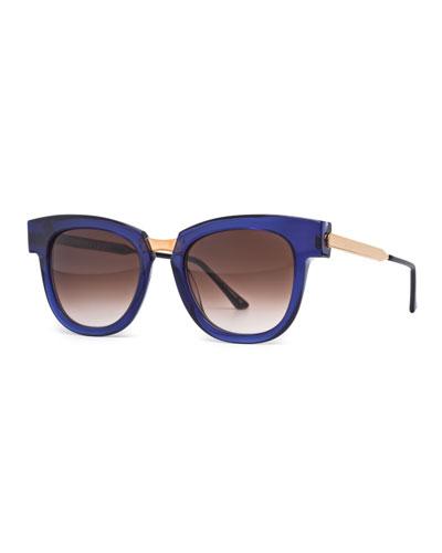 Mondanity Notched Butterfly Sunglasses, Blue
