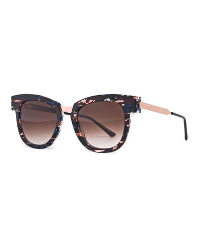 Mondanity Notched Butterfly Sunglasses, Multicolor