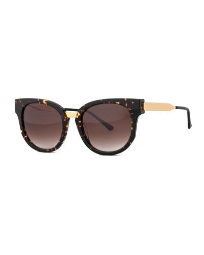 Affinity Square Mixed-Media Sunglasses, Havana