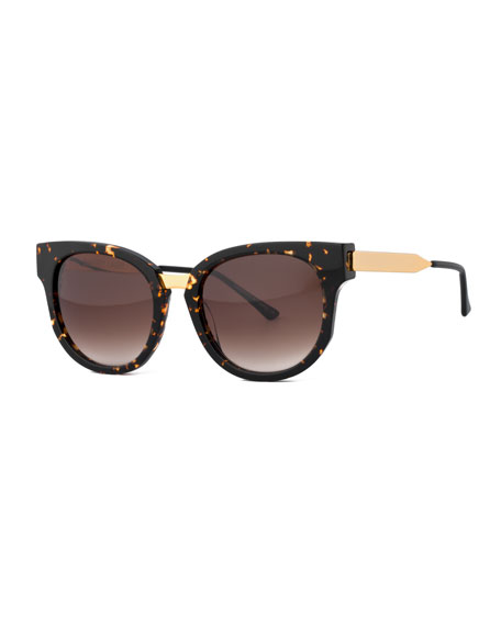 Thierry Lasry Affinity Square Mixed-Media Sunglasses, Havana