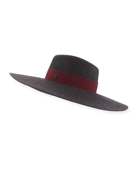 Maison Michel Fara Classic Felt Hat, Charcoal