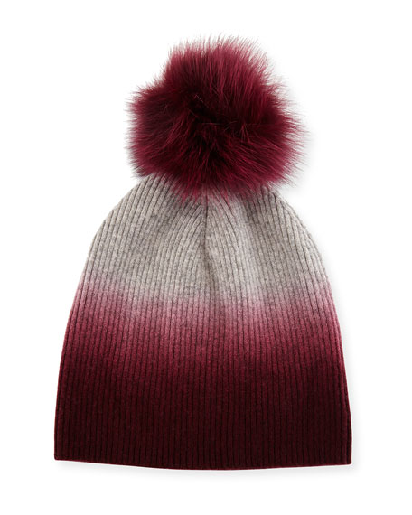 Ribbed Dip-Dyed Cashmere Beanie Hat, Burgundy