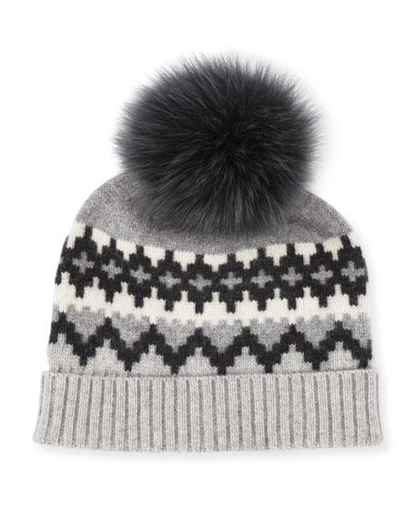Sofia Cashmere Fair Isle Cashmere Fur-Pom Beanie Hat, Gray