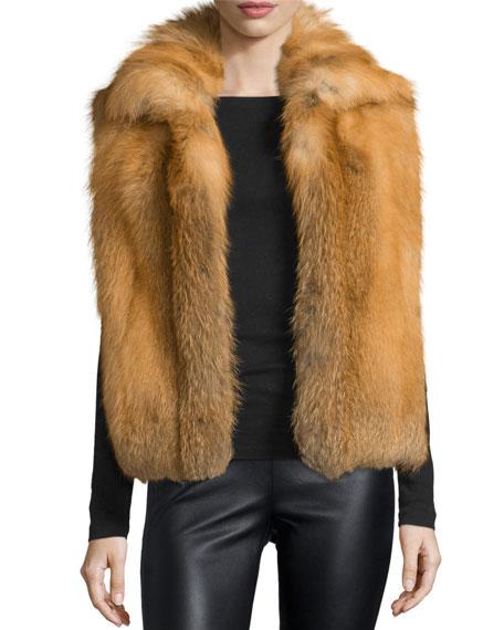 Sofia Cashmere Open-Front Red Fox Fur Vest