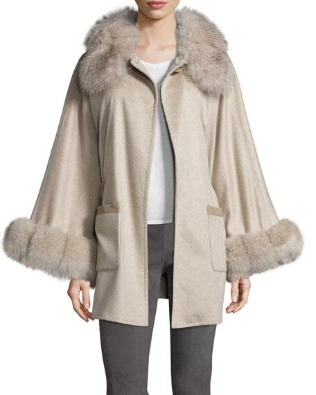 Belted Fox Fur-Trim Cashmere Cape, Taupe