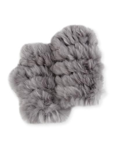Fingerless Rabbit Fur Gloves, Gray