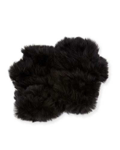 Fingerless Rabbit Fur Gloves, Black