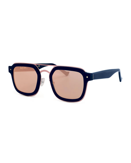 Grey Ant Notizia Square Mirrored Sunglasses, Blue/Pink