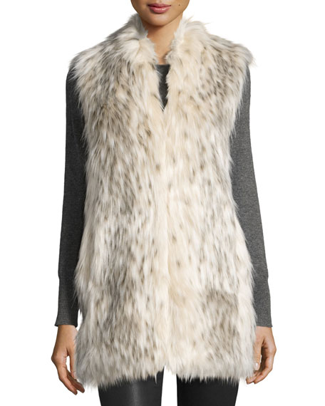 Limited Edition Every-Wear Faux-Fur Vest, Arctic Leopard