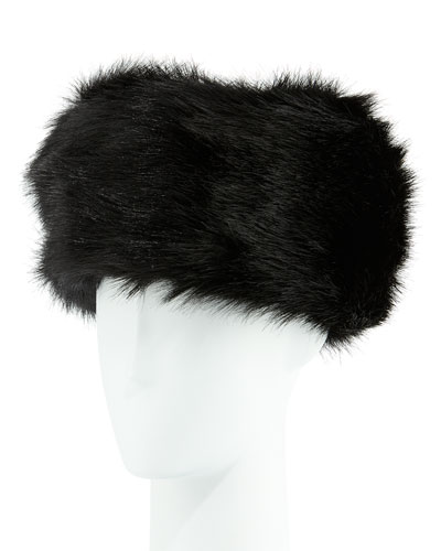 Faux-Fur Russian Hat, Black Fox