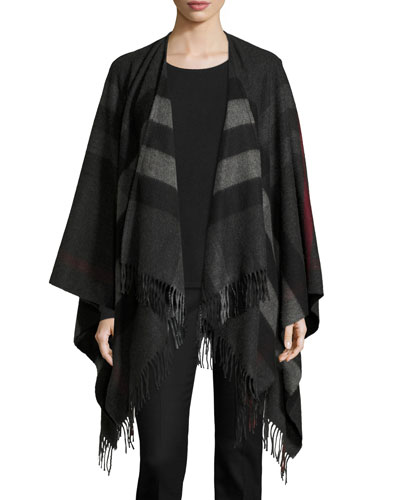 Collette Check Fringe-Trim Cape, Charcoal