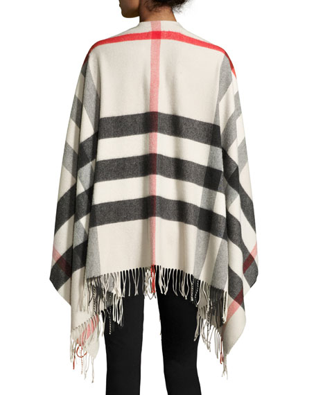 Collette Check Fringe-Trim Cape, Stone