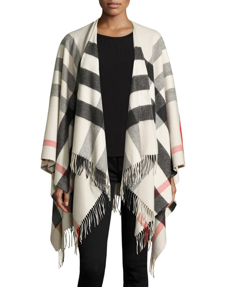 Burberry Collette Check Fringe-Trim Cape, Stone