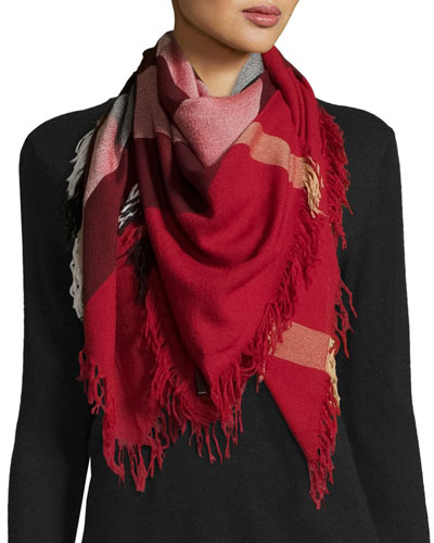 Color Check Wool Scarf, Parade Red