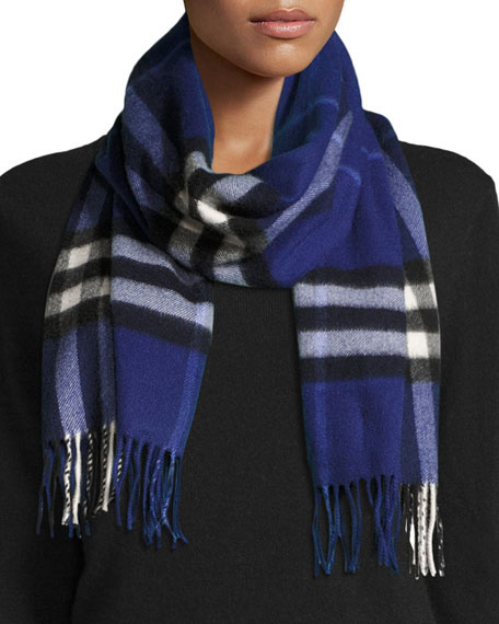 Burberry Giant Check Cashmere Scarf, Sapphire