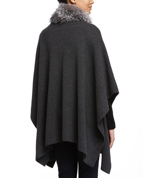 Cashmere Fur-Trim Poncho w/ Pockets, Charcoal